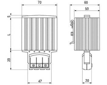 Габаритные размеры полупроводникового калорифера HG 140